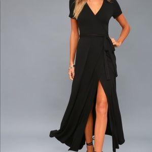 Lulu's Evolve Black Wrap Maxi Dress
